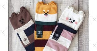 Adorable striped socks with animal design are a cute winter accessory.They are m...