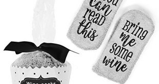 BijouLand - If You Can Read This Bring Me Some Wine, Fuzzy Wine Socks For Women, Wine Lovers gift with Cupcake Package