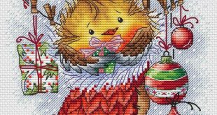 Bird Cross Stitch Pattern PDF Instant Download Christmas Cross Stitch Cute Cross Stitch Sock Cross Stitch Winter Cross Stitch Bright Cross