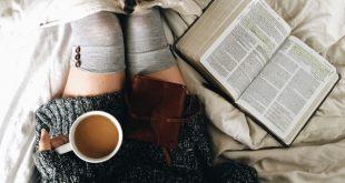 Cozy morning, coffee, coffee mug, puppy, cozy sheets, comfy bed, bible, quiet ti...