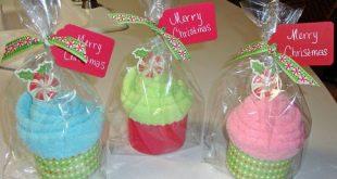 Fuzzy sock cupcake gift
