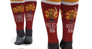 Hockey Knee-High Socks - Hockey Now Gobble Later | Youth Hockey Thanksgiving Gift Idea