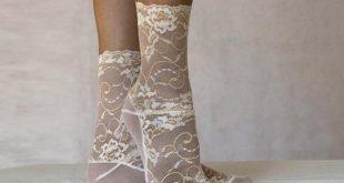 Lace Socks. Ivory and Beige Floral Scalloped Edge Design. Ankle Socks. Women's Socks