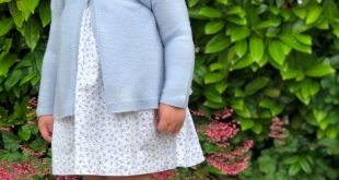 Pretty girls Dress with blue roses, blue knee high socks and blue cardigan - bea...