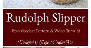 Rudolph Reindeer Slipper Socks Free Crochet Pattern and Video Tutorial