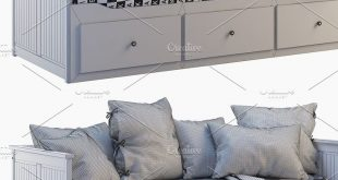Single bed with pillows 3d model