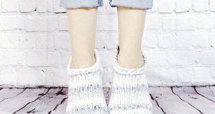 Thick Knitted Slipper Socks for Women, Women's Hand Knit Ankle Socks in Marble