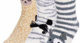 Winter Socks, Coxeer 3 Pack Womens Cute Fuzzy Socks Coral Fleece House Slipper S...